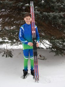 Micah Byman-lucky winner of new skis donated by Algoma Bicycle.