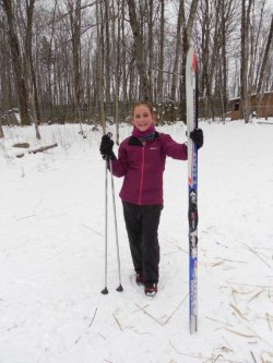 Alyssa Stevens shows off her new skis from Algoma Bicycle Company.