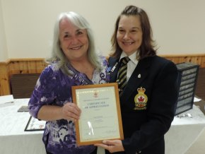 Fran Paterson (L) and Branch President Anne Allaire (R).