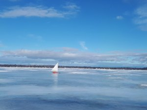 Perfect conditions for sailing on Lake Huron; sunshine, glare ice and wind.
