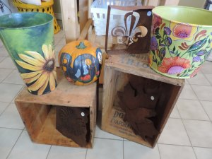 Carol's hand painted sap buckets.