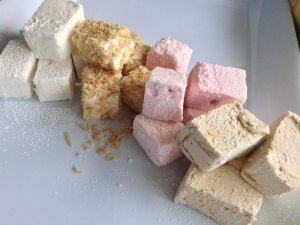 Vanilla, toasted coconut, raspberry and coffee homemade marshmallows,