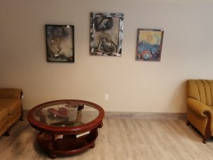 Works by local artists in the gallery.