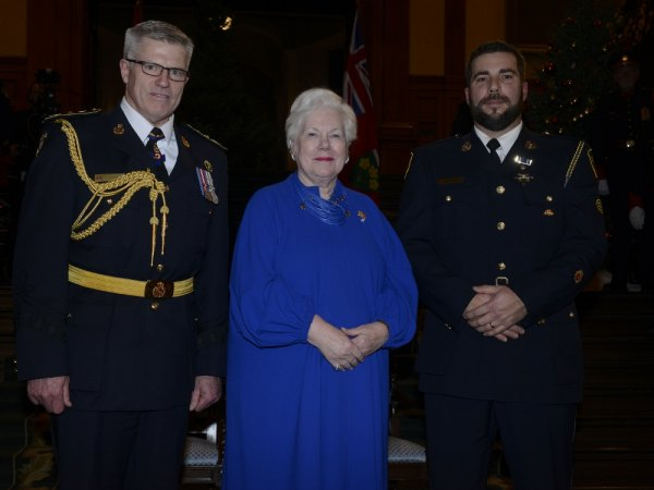 (Pictured L to R) OPP Commissioner Vince Hawkes, Lieutenant Governor of Ontario Elizabeth Dowdeswell and OPP Constable Jeff Lobsinger.
