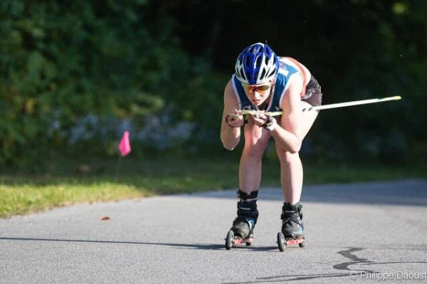 Shilo does roller ski training and competitions in the off season.
