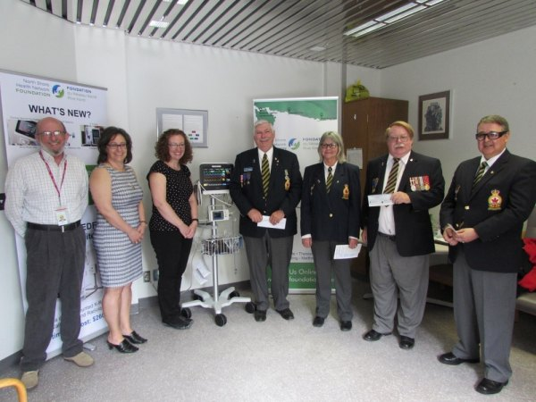 Ken Gibson & Donna Orlando–NSHN Foundation, Jaimee Elmore RN NSHN Blind River Site, Neil Duguay–Bruce Mines Legion Branch #211, Gloria Spencer & Gerry Green- Blind River Legion Branch #189, John Shannon- Richards Landing Legion Branch #374
